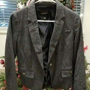 BANANA REPUBLIC Gray Blazer with Detail Pockets